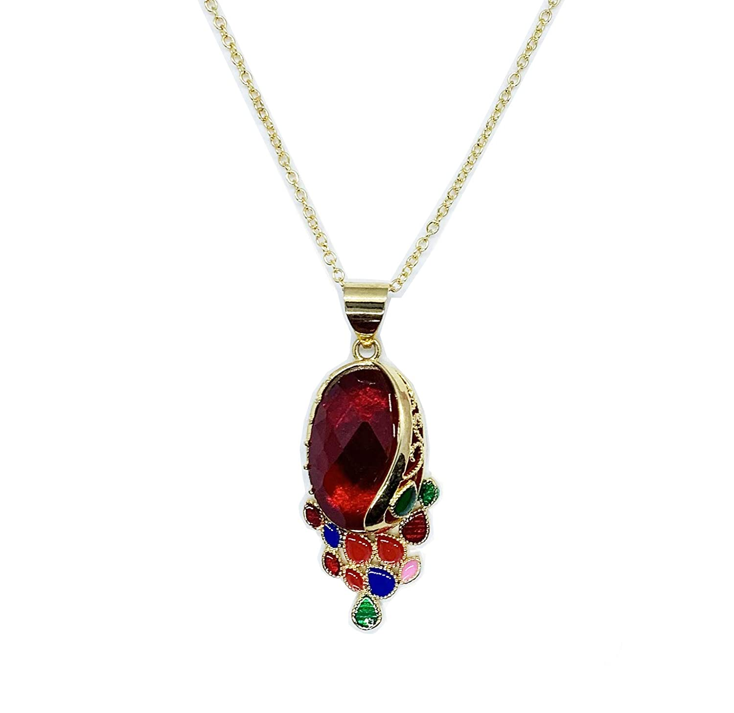 FromBabylon Berry Crystal Stone Pendant Necklace Golden Chain
