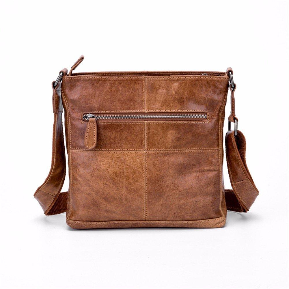 NHGY Men's Single Shoulder Satchel, wear resistant leather vertical square, zipper handbag.