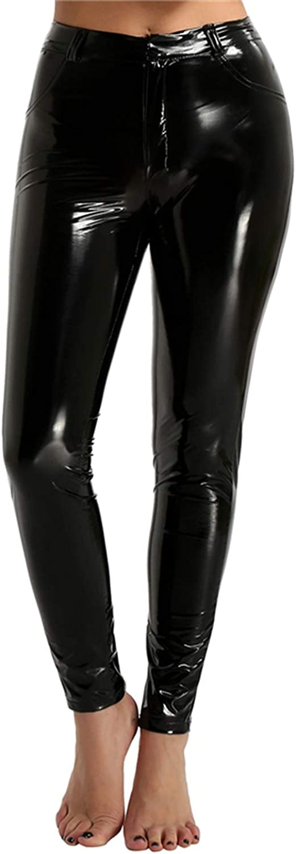 Women Trousers Pu Leather Pants High Waist Butt Lift Legging Slim Pencil Pants for Women