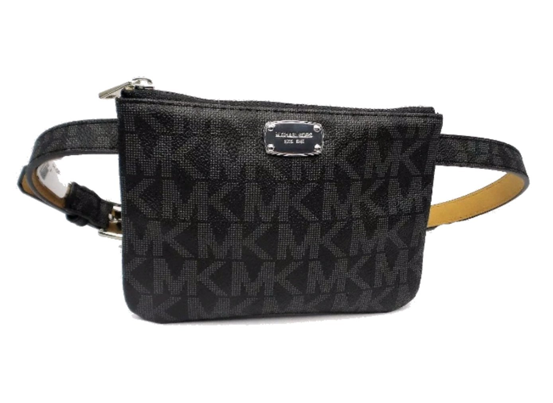 Michael Kors Leather Black Belt Signature Fanny Pack Zip up Small