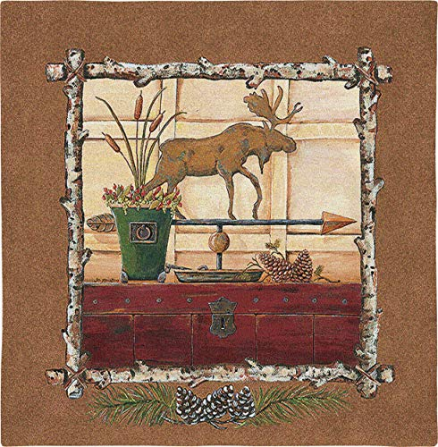 Pure Country Weavers Northern Exposure I | Woven Tapestry Wall Art Hanging | Moose Weather Vane on Trunk Cabin Lodge Decor | 100% Cotton USA Size 26x25 ()