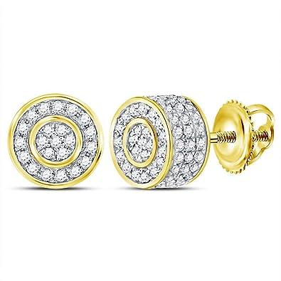 498b0edb1d67 Jewels by Lux - Pendientes de oro amarillo de 10 quilates para hombre con diamantes  redondos 3D