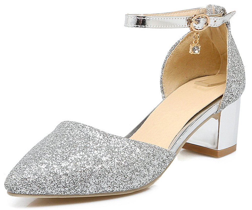 IDIFU Women's Sweet Bling Pointy Toe Ankle Strap Pendant Pumps Shoes with Mid Block Heel (Silver, 10 B(M) US)