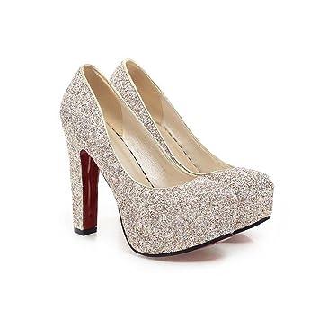 9b4fd64053d872 Wanson Frauen High Heels PU Pailletten Sexy Mode Runde Zehe Chunky Heel  Schuhe Braut Hochzeit Schuhe