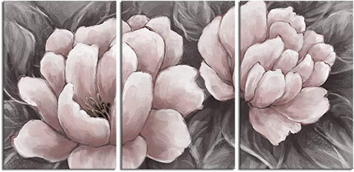Biuteawal Flower Canvas Wall Art Abstract Pink and Gray Wall Artworks Elegant Floral Painting Still Life Pictures for Home Living Room Bedroom Decoration Ready to Hang 16x24inx3panels
