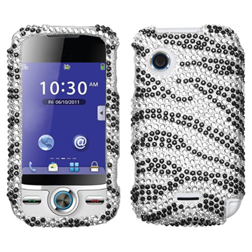 Sparkling Silver with Black Zebra Full Diamond Rhinestone Snap on Hard Skin Cover Case for Huawei M735