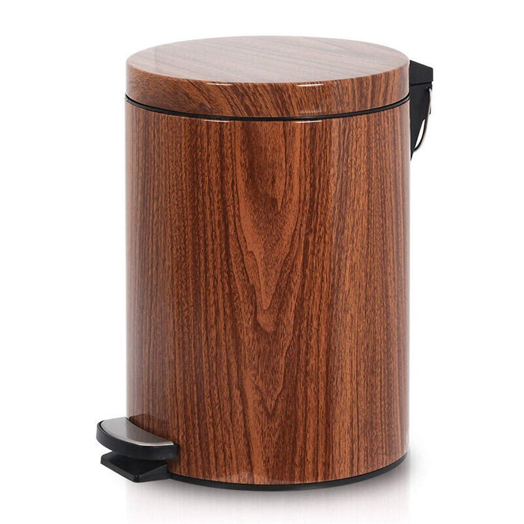 Light Years Foot Creative Trash Can, Imitation Wood Grain Kitchen Cover Living Room Trash Can Bathroom Foot Home Mute Waste Container (Size : 5L)