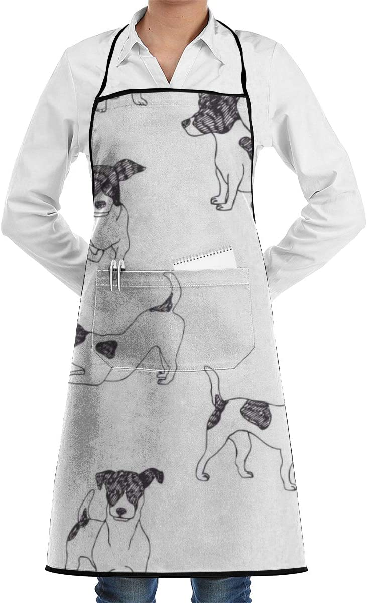 Vicrunning Ink Animais Pet Aprons Bib for Mens Womens Restaurant Lace Adjustable Adult Kitchen Waiter Aprons with Pockets