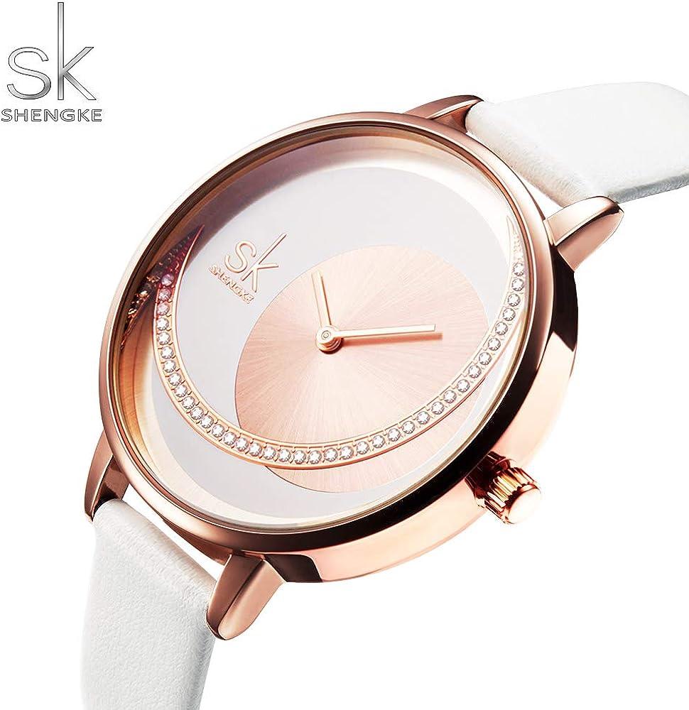 SHENGKE Relojes de Mujer Banda de Cuero Relojes de Cuarzo Vestido ...