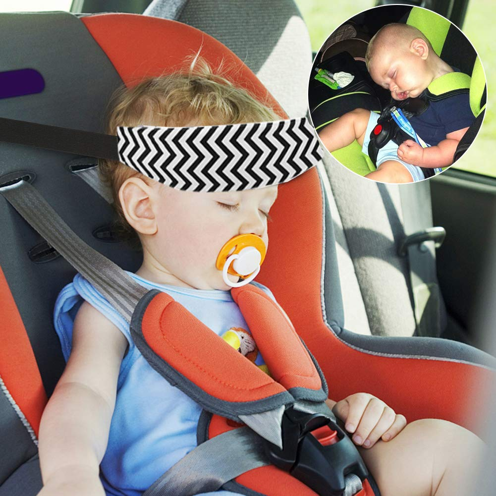 Grey + Black Accmor Baby Car Seat Head Support Band Strap 2 Pack for Car Seats Stroller Neck Relief Head Strap for Toddler Child Kids Infant