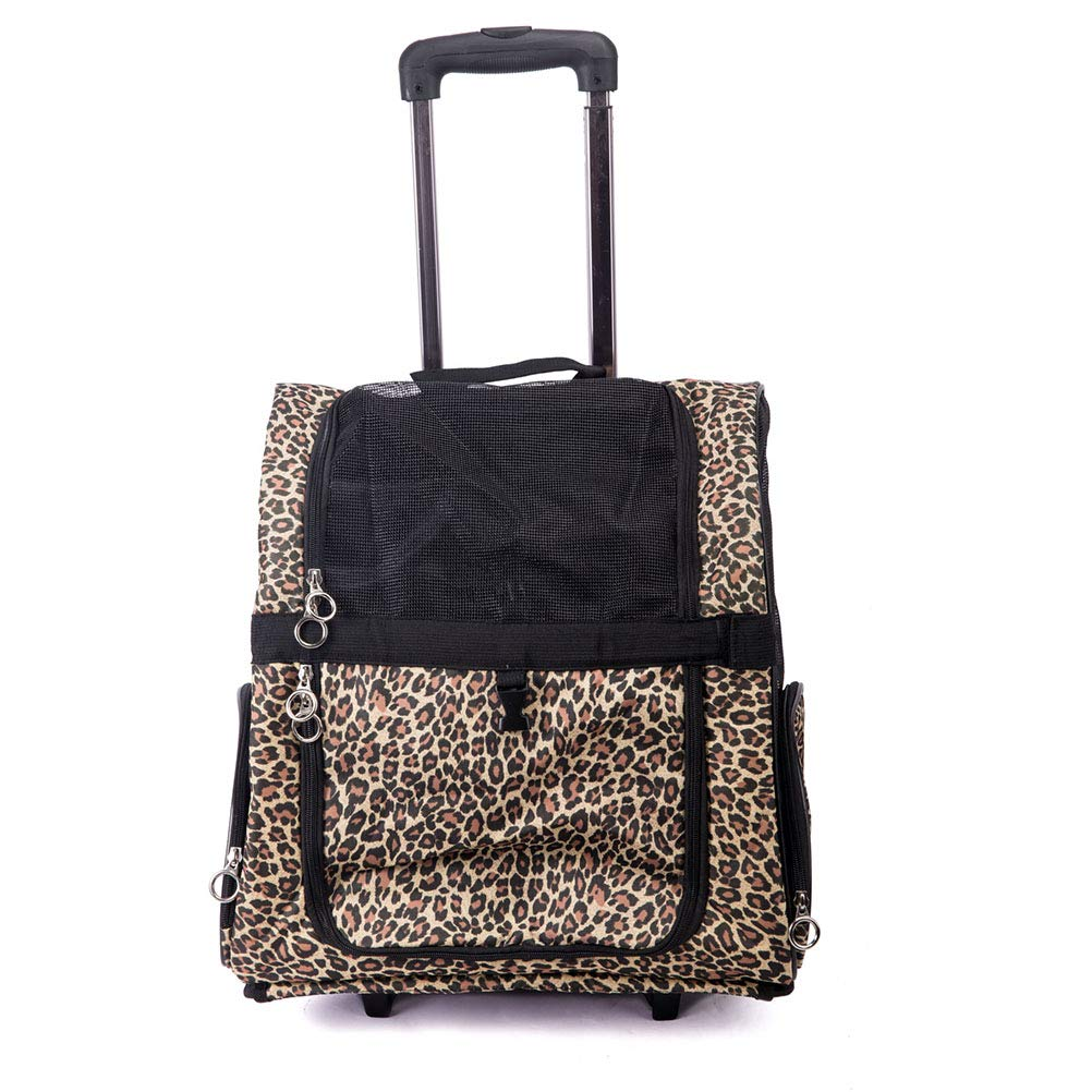 Leopard MFZJ Pet Travel Carrier Dog Cat Teddy Outing Carrying Pet Trolley Case Pet Box Outing Pet Box Leopard