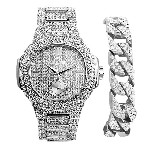 Cuban Bling'd Out Bracelet with Matching Bling'd Out Hip Hop Watch.The Highest desired timepiece style and design that truly represents you!! Luxury Fashion Accessories - 8475B Cuban Silver (Bling Style Watch)