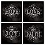Chalkboard Hope Love Joy Faith 12x12 Inspirational Art Print Decorative Home Wall Décor