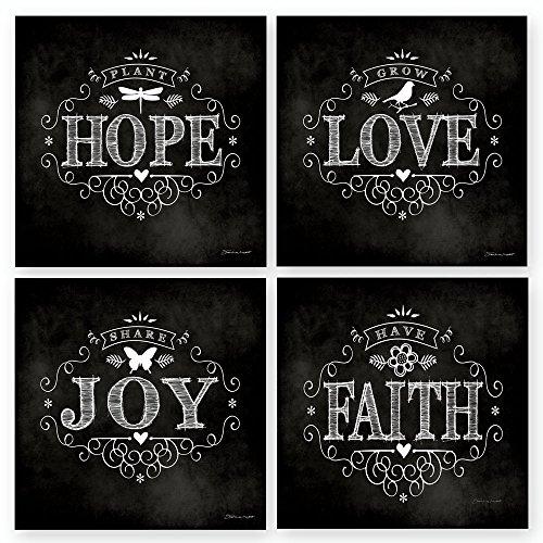 (Chalkboard Hope Love Joy Faith 12x12 Inspirational Art Print Decorative Home Wall Décor)