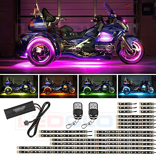 LEDGlow 18pc LiteTrike Advanced Million Color LED Lighting Kit for Trike Motorcycles - 15 Solid Colors - 6 Patterns - Flexible Multi-Color Light Strips - Includes Control Box & 2 Wireless Remotes