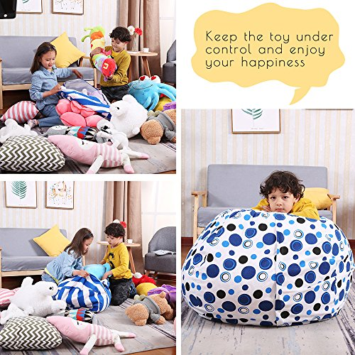 EDCMaker Kids Comfy Chair Cover, Perfect for Storing Stuffed Animals, Clean Up Your Room And Play Area, Fashion Blue Polka-Dot Design - 38'' by EDCMaker (Image #2)