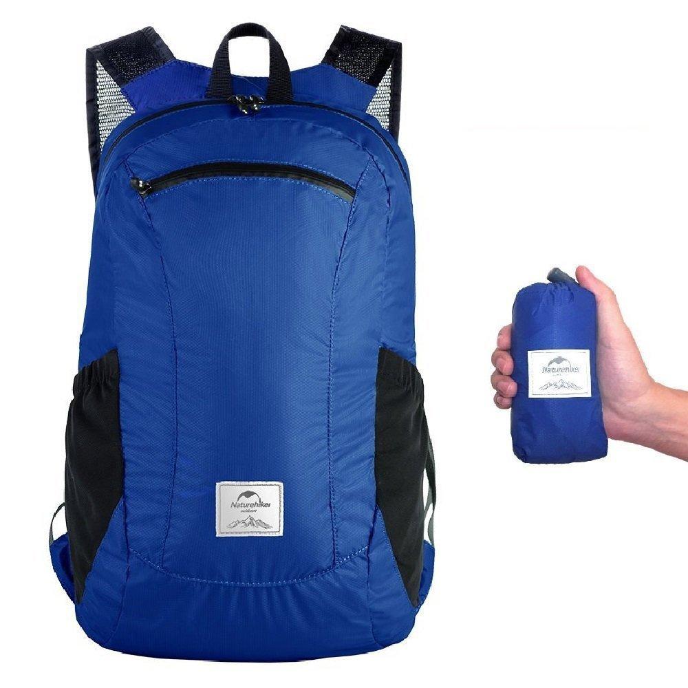 zouqilaiアウトドア折りたたみ式防水ポータブル折りたたみ式ポケット旅行軽量スポーツバッグショルダーバッグバックパックバックパック18l  ブルー B07F1D11P2