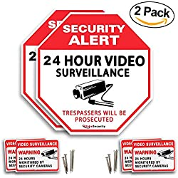 Security Video Surveillance Sign for the Safety and Security of your Family (pack of 2 sign) with Warning Stickers and Installation Hardware by GlobeSecurity