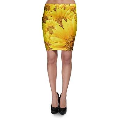 Girasoles Bodycon falda XS-3 X L Elástico Falda Corta - Amarillo ...