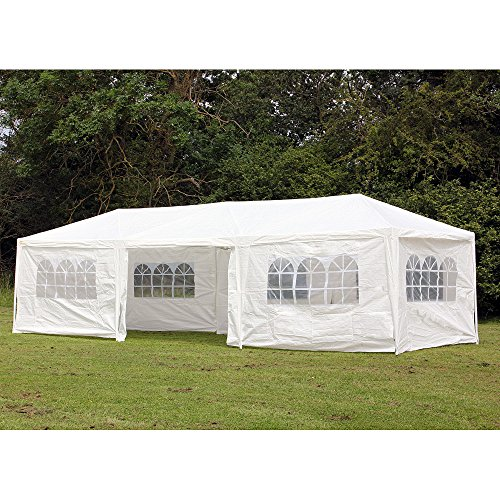 Palm Springs 10 x 30 Foot White Party Tent Gazebo Canopy with Sidewalls by Palm Springs