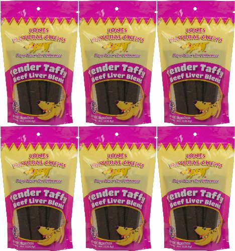 Jones Natural Chews Tender Taffy Beef Liver Blend 48oz (6 x 8oz)