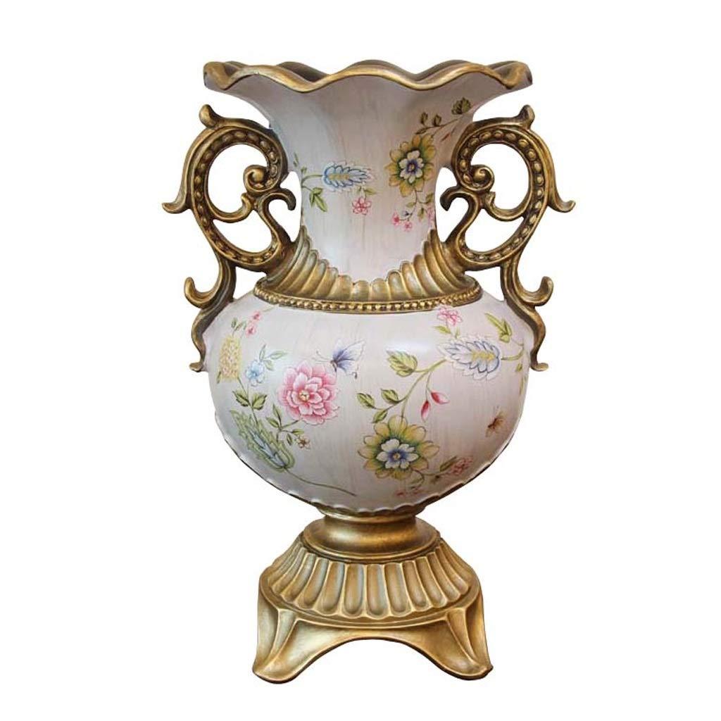 樹脂花瓶花瓶40.5センチ背の高いダブル耳ヨーロッパレトロ牧歌缶用ドライフラワー造花樹脂装飾用装飾品ホームホワイト B07SPWX7P7