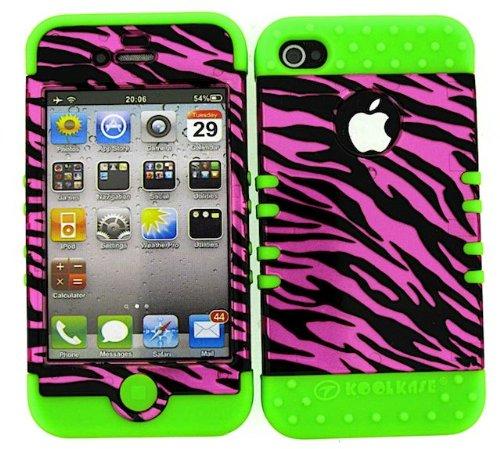 BUMPER CASE FOR IPHONE 4 SOFT LIME GREEN SKIN HARD TRANS HOT PINK ZEBRA COVER ()