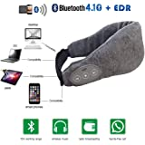 LangKou Sleeping Headphone Bluetooth Eye Mask Music Headset with Stereo Speakers Handsfree Microphone Rechargeable Battery Travel Headset Earpiece for iPhone iPad Tablets Android Phones-Gray