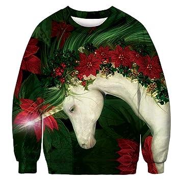 Sudadera Unisex para Navidad, Patrón Animal Lindo De Navidad Estampado Digital Suéter Pullover Sudadera FEA para Fiestas De Navidad Y Fiestas Navideñas, ...