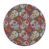 HYTRG Sugar Skulls Roses Dead Round Seat Cushion Non-Slip Machine Washable Round Stool Cushion Pad Stool Cover Mat Rug 16 Inch