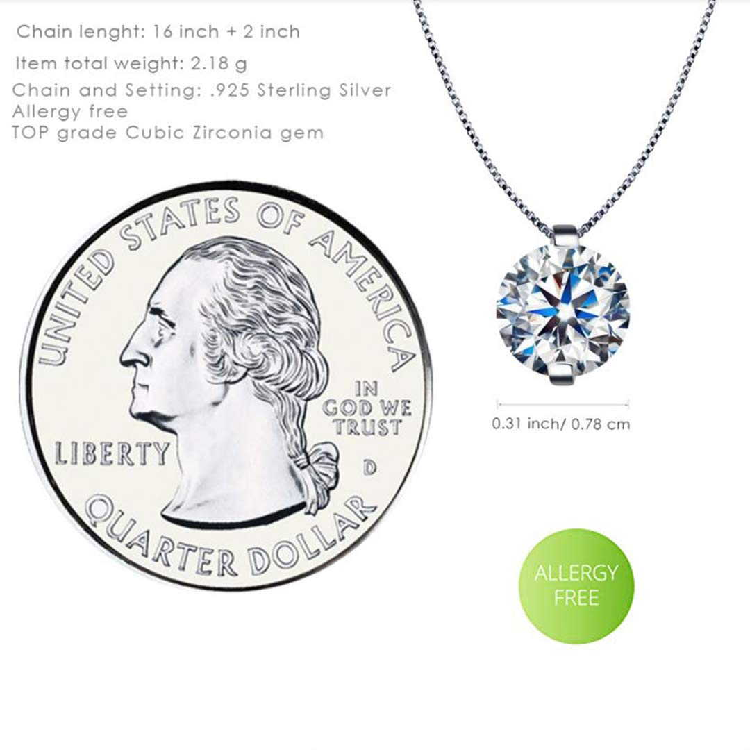 Kigmay Jewelry 925 Sterling Silver CZ Round Solitaire Pendant Chain Necklace for Women, 16\