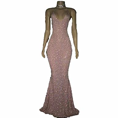 Little PrettyDress Sexy Womens Pink Sequin Prom Dresses Spaghetti Straps Mermaid Sleeveless Evening Gowns (Black