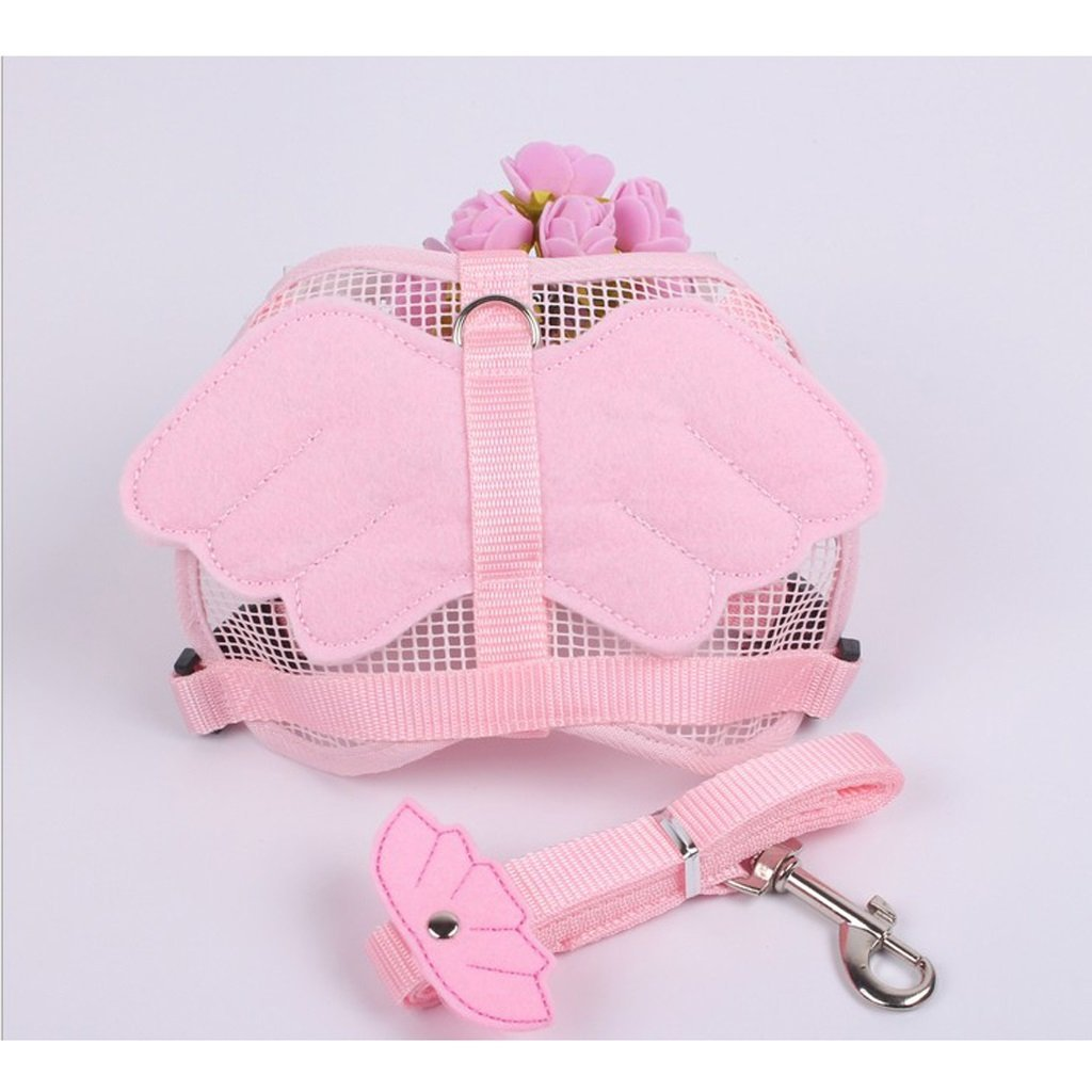 TLMY Dog Angel Leash Rope Pet Dog Chain Dog Rope Teddy Vest Chest Strap Bunny Rope Cat Rope Pet Chain (color   PINK, Size   S)