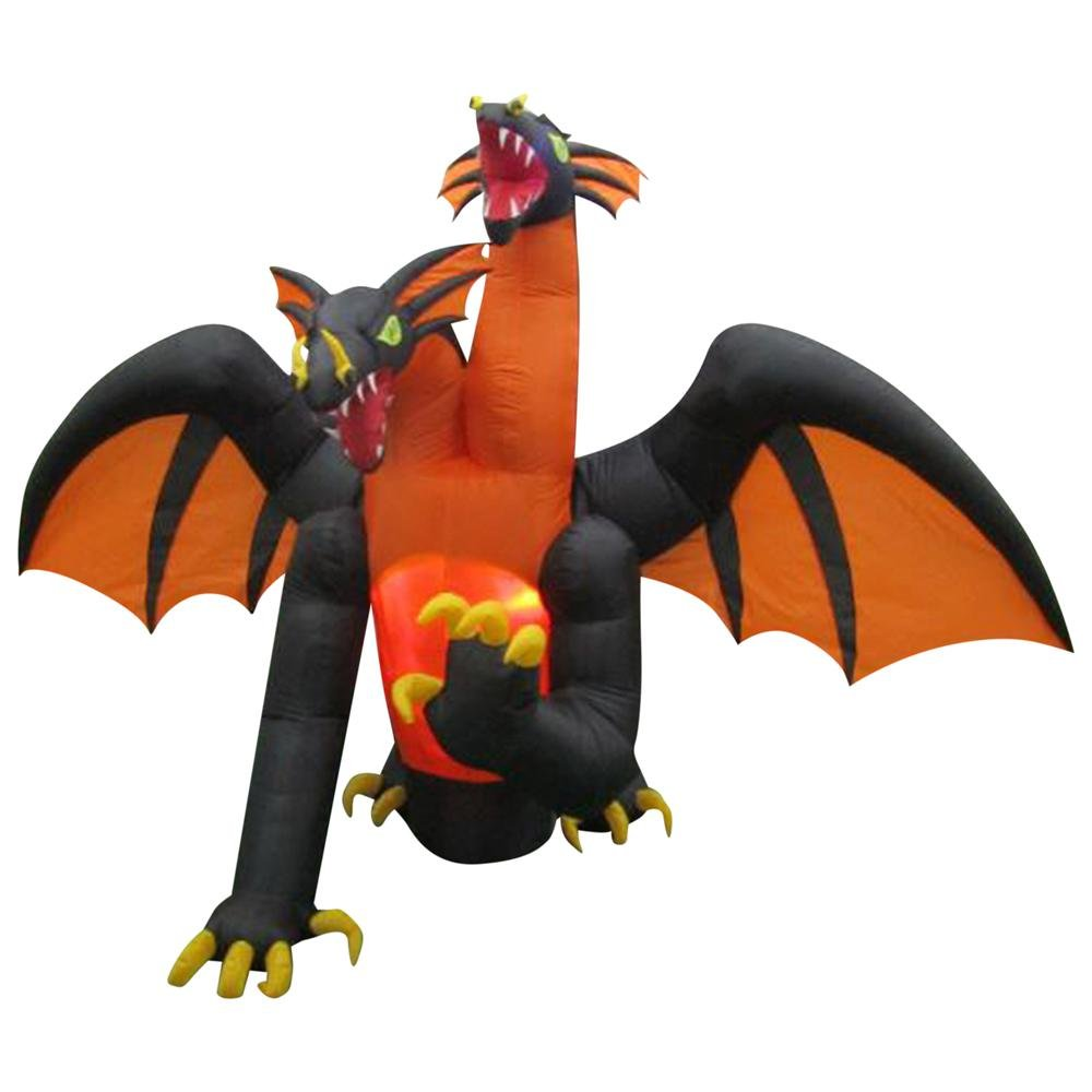 Inflatable Indoor/Outdoor Holiday Decoration 11 ft. Animated Projection 2-Headed Dragon (RRY)