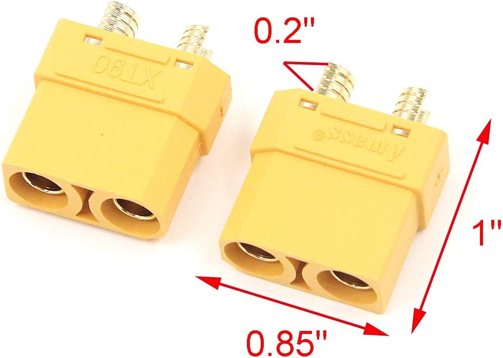 Geesatis 5 Pairs XT90 Battery Connector Male and Female Connector Bullet Connectors Power Plugs Set for RC Lipo Battery Power System Connector