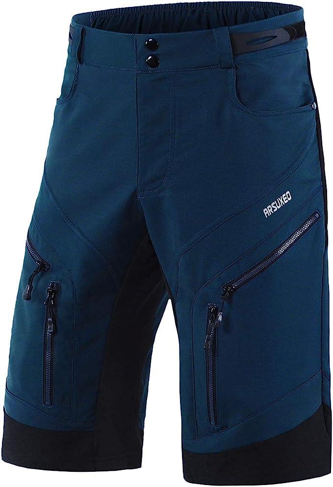 holgados ARSUXEO 1903 Pantalones cortos de ciclismo para hombre resistentes al agua