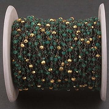 Amazon.de: 10 Füße grün Onyx und Gold Pyrit schwarz Draht verpackt ...