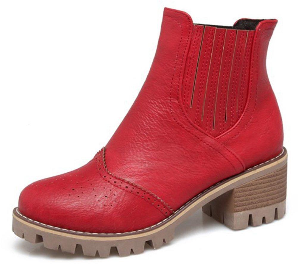 Aisun Damen Brogue Perforiert Plateau Blockabsatz Kurzschaft Sport Freizeit Martin Boots Stiefel Rot 42 EU jE3eAd86i
