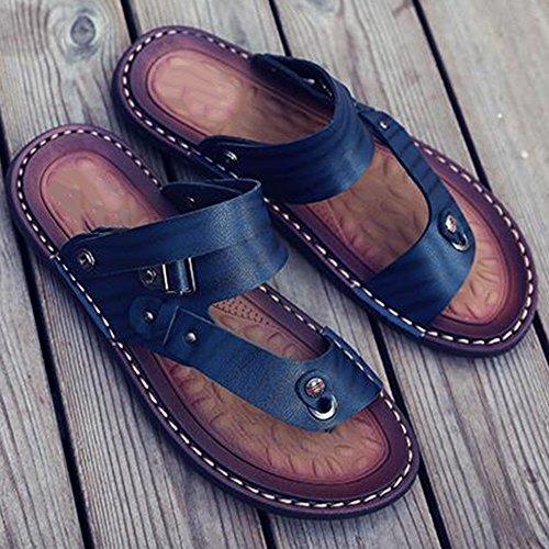 XIAOLIN Sandalias de verano Zapatillas de cuero para hombres Sandalias de deporte antideslizantes para hombres de verano Zapatillas informales para hombres (Tamaño opcional) ( Color : 02 , Tamaño : EU 02