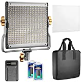 Neewer Dimmable Bi-color 480 LED Video Light CRI 96+ 3200-5600K with U Bracket,2 Pieces Rechargeable Li-ion Battery and USB Charger for DSLR Camera Photo Studio Photography,YouTube Video Shooting