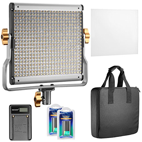Neewer Dimmable Bi-color 480 LED Video Light CRI 96+ 3200-5600K with U Bracket,2 Pieces Rechargeable Li-ion Battery and USB Charger for DSLR Camera Photo Studio Photography,YouTube Video Shooting by Neewer