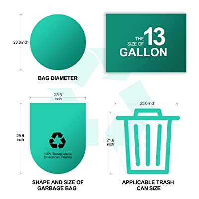 Buy Eyliden 100 Compostable Trash Bags 100 Count 13 Gallon 49 2l Tall Kitchen Garbage Bags Medium Wastebasket Bags For Yard Home Bedroom Office Indoor Outdoor Garbage Can 13 Gallon Online In Indonesia B08xx7gq1c