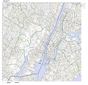 Jersey City Nj Zip Code Map.Amazon Com Union City Nj Zip Code Map Not Laminated Home Kitchen