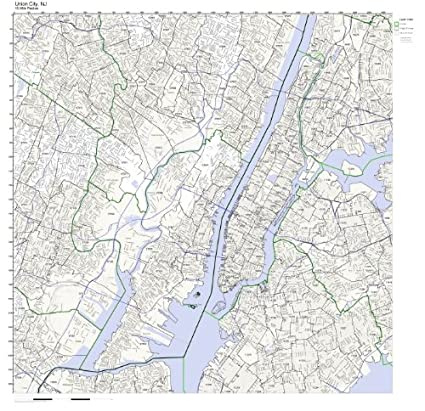 Jersey City Nj Zip Code Map.Amazon Com Union City Nj Zip Code Map Laminated Home Kitchen