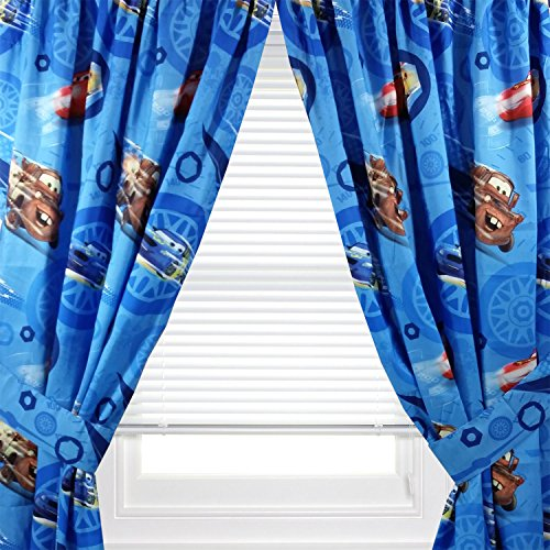 Cars Curtain - Disney Cars Window Panel - Set of 2 Panels & Tie Backs, 42