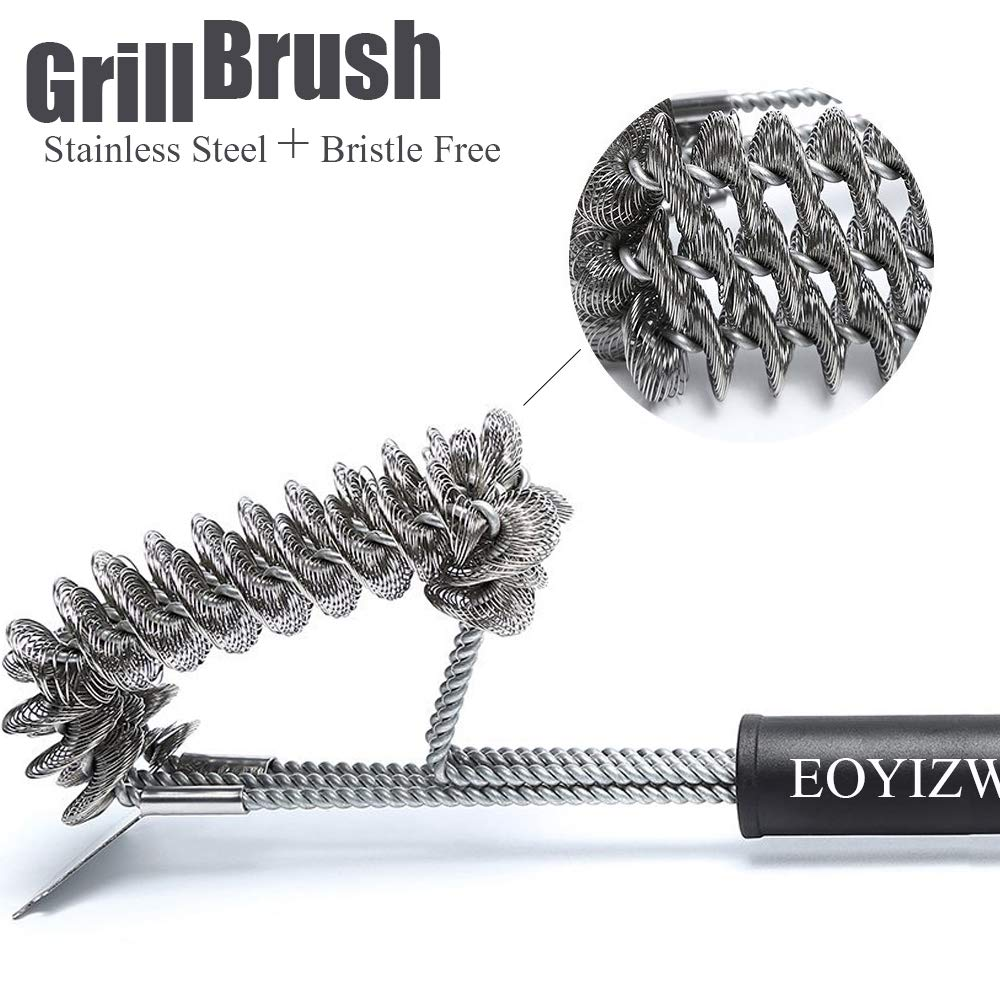 EOYIZW Grill Brush and Scraper,Bristle Free Barbecue Cleaner,18 inch Stainless Steel BBQ Cleaning Brush with Triple Head Scrubber