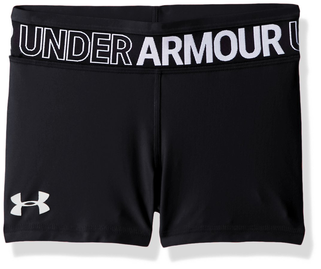 Under Armour Girls' HeatGear Armour Shorty, Black (001)/White, Youth X-Large
