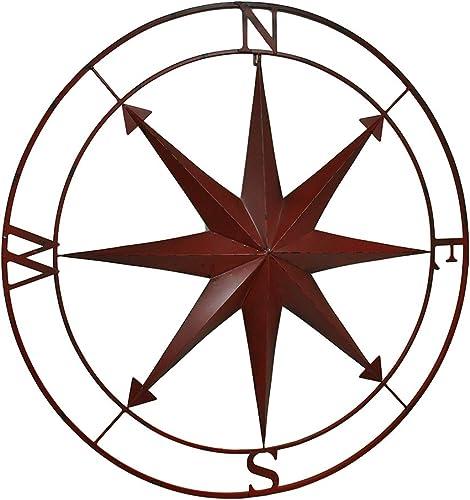 Zeckos Red Indoor Outdoor Metal Compass Rose Hanging Wall Decor 39.5 Inch Diameter