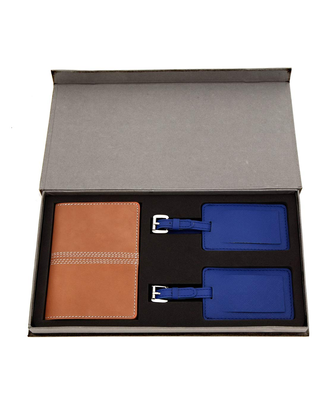 JL Collections Beige Leather Passport Holder with Blue Luggage Tag Gift Sets (Pack of 3)
