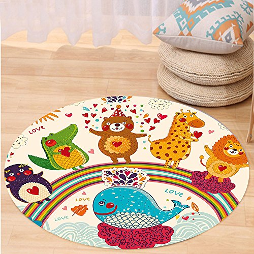 Kisscase Custom carpetBirthday Decorations for Kids Hand Drawn Tropic Wild Animals and Whale on a Rainbow Image for Bedroom Living Room Dorm (Wild Rainbow Cat Child Costumes)